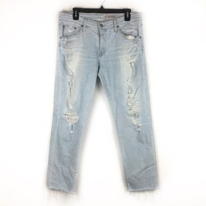 AG ex-boyfriend slim raw hem distressed jeans